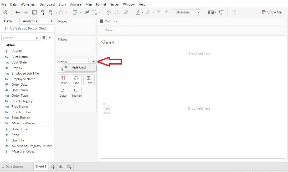 Tableau Worksheet show or hide elements Step 5